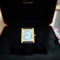 Cartier Yellow gold Quartz White Roman numerals pre-owned Tank Solo