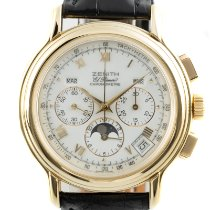 Zenith El Primero Chronomaster pre-owned 40mm White Moon phase Chronograph Date Weekday Month Crocodile skin
