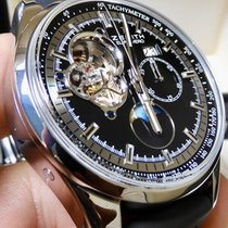 Zenith El Primero pre-owned 45mm Black Moon phase Chronograph Date Rubber