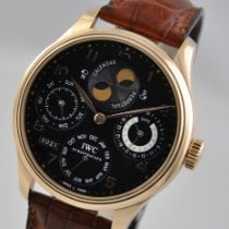 IWC Portuguese Perpetual Calendar pre-owned 44.20mm Black Moon phase Date Weekday Month Perpetual calendar Leather