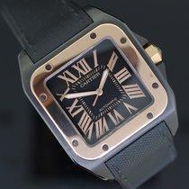 Cartier Santos 100 Gold/Stahl 38mm Schwarz Römisch