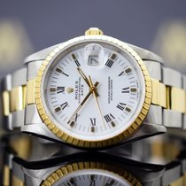 Rolex Oyster Perpetual Date Acero y oro 34mm Blanco