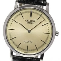 Seiko White gold Manual winding Silver 34mm pre-owned