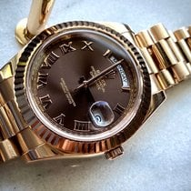 Rolex Oro rosa Automático Marrón Romanos 41mm usados Day-Date II