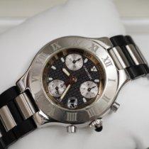 Cartier 21 Chronoscaph Сталь 38mm Черный Без цифр