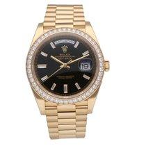 Rolex Day-Date 40 подержанные 40mm Черный Дата Индикатор дней недели Желтое золото