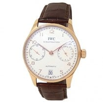 IWC Rose gold Automatic Silver 42mm pre-owned Portuguese Automatic