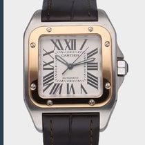 Cartier Santos 100 Stahl 33mm Weiß Römisch