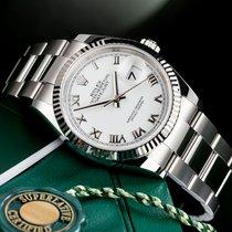 Rolex Datejust gebraucht 36mm Weiß Datum Stahl