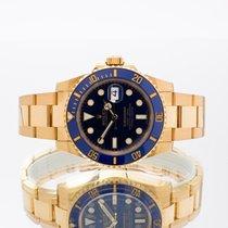 Rolex Желтое золото Автоподзавод Синий 40mm подержанные Submariner Date