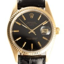 Rolex Oyster Perpetual Date Yellow gold 34mm Black