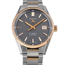 TAG Heuer Carrera Calibre 5 pre-owned 39mm Grey Date Gold/Steel