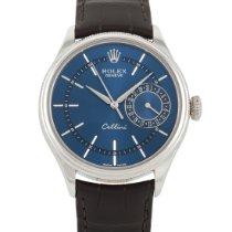 Rolex Cellini Date Hvidguld 39mm Blå Arabertal