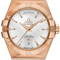 Omega Rose gold Automatic Silver Roman numerals 38mm new Constellation Day-Date