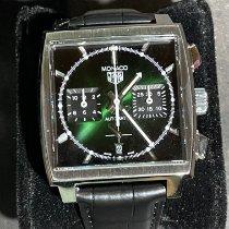 TAG Heuer Monaco pre-owned 39mm Green Date Crocodile skin