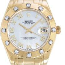 Rolex Żółte złoto Automatyczny Masa perłowa Rzymskie 29mm używany Lady-Datejust Pearlmaster