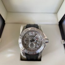 Longines HydroConquest pre-owned Silver Chronograph Date Rubber