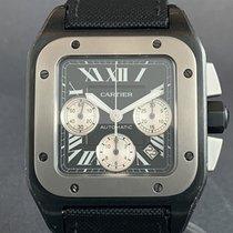 Cartier Santos 100 Сталь 54.9mm Черный Римские