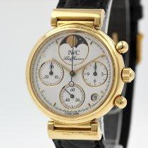 IWC Da Vinci Chronograph gebraucht 29mm Weiß Mondphase Chronograph Datum Leder