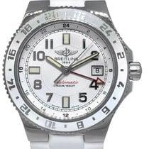 Breitling Superocean GMT Сталь 41mm Белый Aрабские