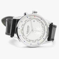노모스 취리히 월드타임 중고시계 39.9mm 흰색 GMT 가죽