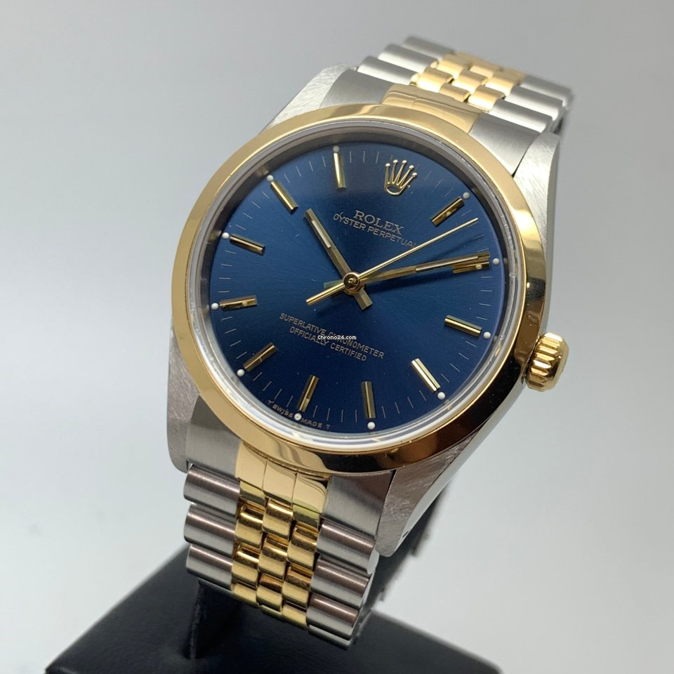 Rolex Oyster Perpetual 34mm 18K Gold Steel Jubilee Blue Dial