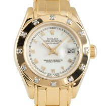Rolex Lady-Datejust Pearlmaster Yellow gold 29mm White