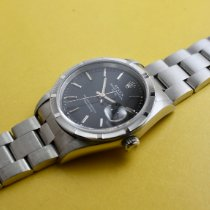 Rolex Oyster Perpetual Date Stahl 34mm Schwarz Keine Ziffern Schweiz, Schaffhausen