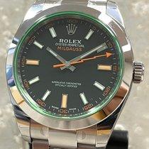 Rolex Milgauss Staal 40mm Zwart Geen cijfers