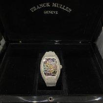 Franck Muller nuevo Automático Esqueletizado Tapa transparente Con piedras preciosas y diamantes Agujas luminosas Corona atornillada 32mm Acero Cristal de zafiro