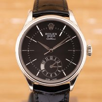 Rolex Cellini Dual Time Złoto białe 39mm Czarny Bez cyfr