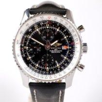 Breitling Navitimer World подержанные 46mm Черный Хронограф Flyback-функция Дата GMT/две час.зоны Тахиметр Кожа
