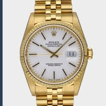 Rolex Datejust pre-owned 36mm White Date Yellow gold