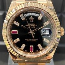 Rolex Day-Date II Oro rosa 41mm Negro Romanos
