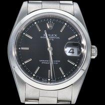 Rolex Oyster Perpetual Date Acier 34mm Noir Sans chiffres Belgique, Brussel