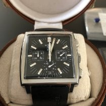 TAG Heuer Monaco pre-owned 38mm Black Chronograph Date Leather