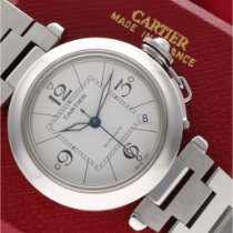 Cartier Pasha C usato 35mm Bianco Data Acciaio