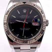 Rolex Datejust Turn-O-Graph Acero 36mm Negro Sin cifras