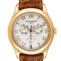 Patek Philippe Yellow gold Automatic Silver Roman numerals 37mm pre-owned Annual Calendar