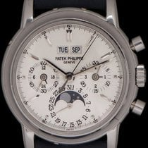 Patek Philippe Platinum Manual winding Silver No numerals 36mmmm pre-owned Perpetual Calendar Chronograph
