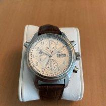 IWC Pilot Double Chronograph tweedehands 41mm Zilver Dubbele chronograaf Datum Leer