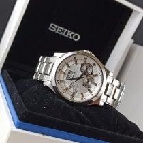 Seiko Premier Kinetic Perpetual Aço 40mm Branco