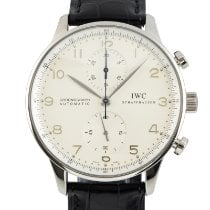 IWC White gold Automatic Silver 41mm pre-owned Portuguese Chronograph