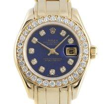 Rolex Lady-Datejust Pearlmaster Желтое золото 29mm Синий