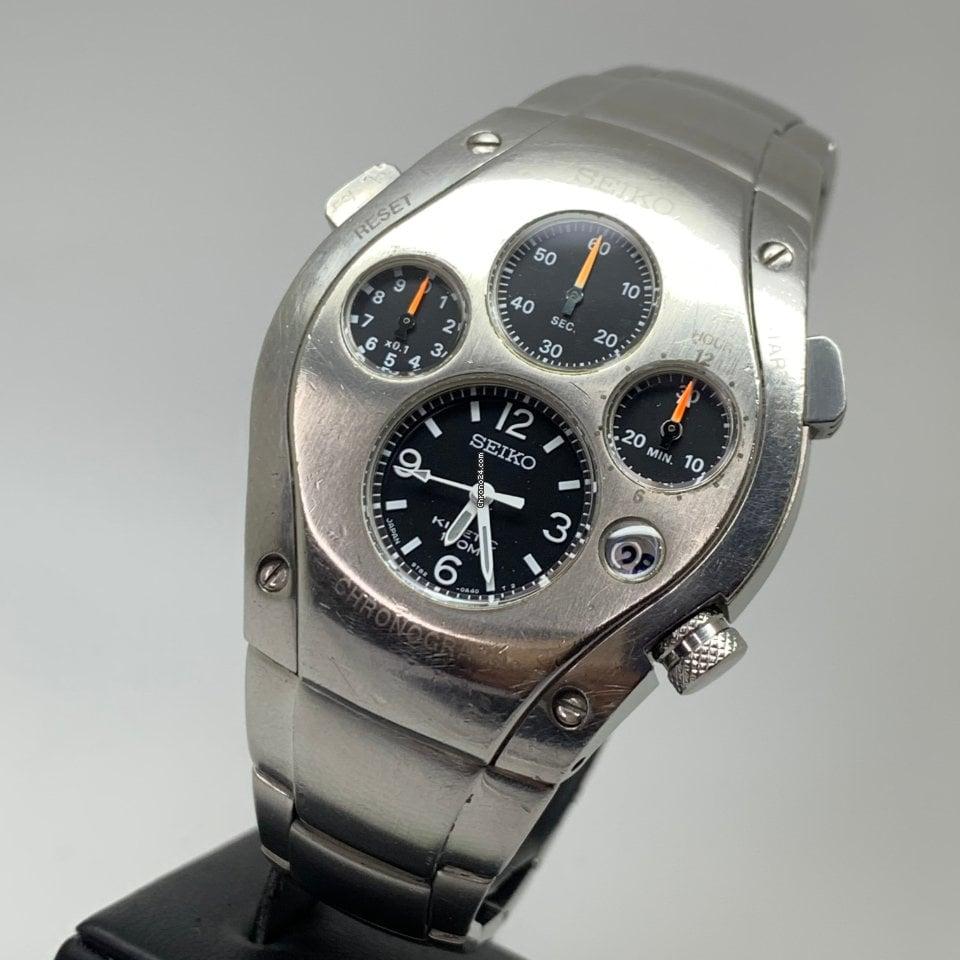 Seiko Sportura Kinetic Chronograph 9T82 Japan SLQ007 RARE UNPOLISHED
