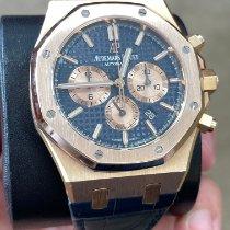 Audemars Piguet Royal Oak Chronograph Roségoud 41mm Blauw Geen cijfers