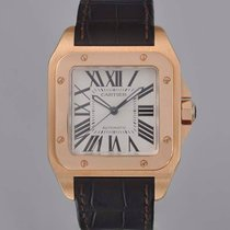Cartier Red gold Automatic White 38mm pre-owned Santos 100