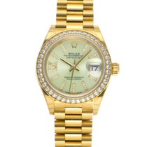 Rolex Yellow gold Automatic Green 28mm pre-owned Lady-Datejust