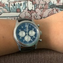 Breitling Navitimer 8 подержанные 43mm Синий Хронограф Дата Кожа аллигатора