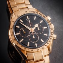 Omega Red gold Automatic Black No numerals 42mm pre-owned Speedmaster Broad Arrow